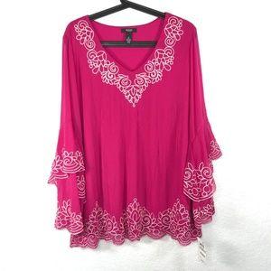 Alfani Plus Size Floral Embroidered Blouse